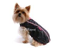 Pršiplášť pre psa Teri čierno ružová - bez rukávov