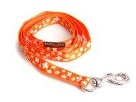 Vodítko pre psa, š. 2 cm, oranžové s kvetinkami