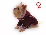 Mikina pre psa Zonny s kapucňou vínovo ružová - sučka
