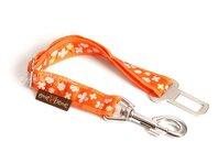 Pás do auta pre psa oranžový s kvietkami š. 2,5 cm