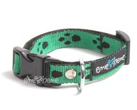 Obojok pre psa zelená labka, š. 1,5 cm