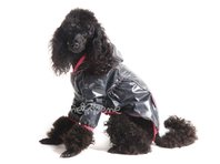 Pršiplašť pre psa Tara s rukávky čierna, ružový lem