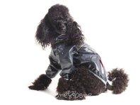Pršiplašť pre psa Tara s rukávky čierna, sivý lem