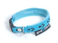 Obojok pre psa fleece svetlo modrá labka, š. 1 cm
