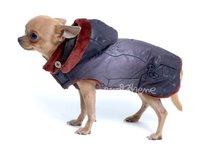 Bunda pre psa Mia černohnedá s kapucňou