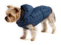 Bunda pre psa Šon petrolejová s kapucňou