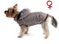 Bunda pre psa Šon béžovo sivá s kapucňou sučka