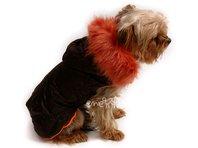 Bunda pre psa Mia hnědo oranžová s kožušinou